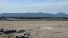 Ryanair Airplane landing at Girona Airport in Spain Stock Footage