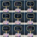 Photo collage of wooden mini blackboard labels on the theme Educate Yourself Stock Photos