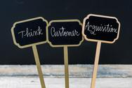 Business message THINK CUSTOMER AQUISITION Stock Photos
