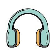 Headset audio device isolated icon Stock Illustration