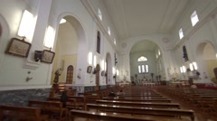 Ornate interior of a Christian cathedral in Macau Stock Footage
