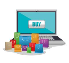 Laptop bags and shopping online design Piirros