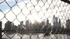 New York City Skyscrapers - establishing shot - Manhattan Bridge Stock Footage
