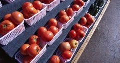 Farmers market full of people and food. Stock Footage