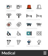 Black and color outline icons, thin stroke line style design Stock Illustration