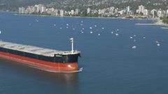 Tanker ship getting closer to the harbour, air shot Stock Footage