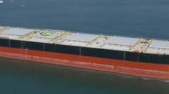 Tanker ship getting closer to the harbour, air shot (part 3) Stock Footage