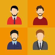 Men faceless user avatar icons image Stock Illustration