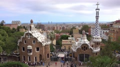 Fantastic aerial view over Barcelona from Park Guell Stock Footage
