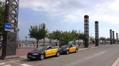 Port Olympic street view in Barcelona Stock Footage