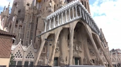Famous Sagrada Familia Cathedral in Barcelona Stock Footage