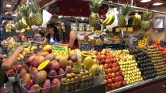 La Boqueria Barcelona - biggest Market Hall in town - Mercat de Boqueria Stock Footage