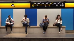 People waiting for Barcelona Underground Metro Stock Footage