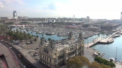Aerial view over Port Vell Barcelona from the top of the Column Stock Footage