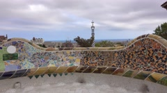 Most beautiful park in Barcelona - Park Guell of Antoni Gaudi Stock Footage