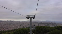 Montjuic Teleferic ropeway in Barcelona - great aerial view over the city Stock Footage