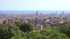 Amazing overlook over Barcelona from Park Guell La Salute Stock Footage