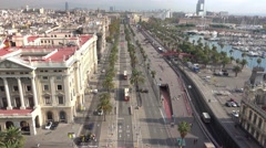 Aerial view over Passeig de colom street in Barcelona at Port Vell Stock Footage