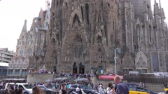 Visitors at Sagrada Familia Cathedral in Barcelona Stock Footage