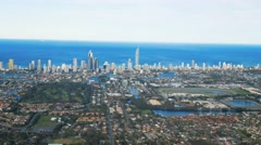Skyline of Surfers Paradise and beach from helicopter, Gold Coast Stock Footage