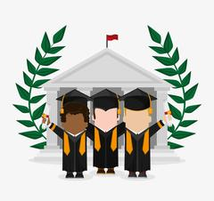 Graduation cap boy graduate university icon. Vector graphic Stock Illustration