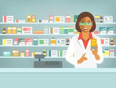 Pharmacist black woman with medicine in pharmacy Piirros