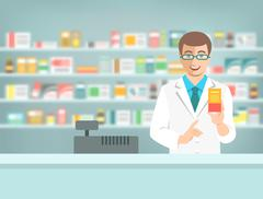 Pharmacist counter man with medicine in pharmacy Piirros