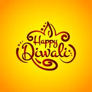 Text calligraphy inscription Happy Diwali festival India with lamp oil balls on Stock Illustration
