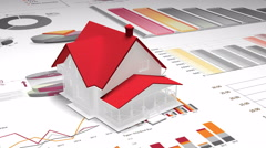 4k,rotating 3d house model on the finance pie charts & business trend diagrams. Stock Footage