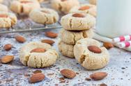 Healthy homemade almond cookies without butter and flour, horizontal Stock Photos
