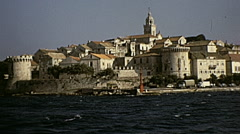 Korcula, Yugoslavia 1972: view of the city from a boat Stock Footage