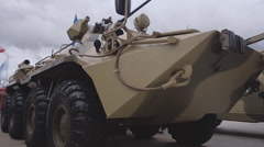 Fighting wheeled floating armored vehicle, equipped with gun Stock Footage