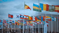 A huge number of flags of different countries on the international arms show Stock Footage
