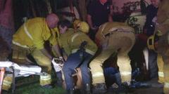 Paramedics load gang shooting victim onto stretcher Stock Footage