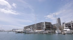 Marina. Superyachts. Apartments. City Stock Footage