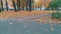 Skater pushing skateboard picking up and continue walking autumn park Stock Footage