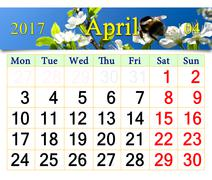 Calendar for April 2017 with bee on the flower of plum Stock Illustration