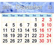 Calendar for December 2017 with branch covered by hoar-frost Stock Illustration