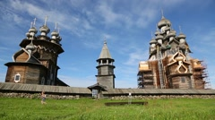 Famous wooden architectural ensemble of Kizhi in Russia Stock Footage