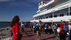 Tourists are on the quay of Kizhi Island Stock Footage