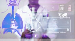 Lungs - Graphics - Touch Screen - High Tech - Data - Futuristic Stock Footage