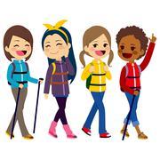 Hiking Girls Friends Piirros
