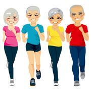 Senior Runner Group Stock Illustration