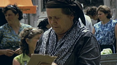 Dubrovnik, Yugoslavia 1972: woman selling vegetables at the market Stock Footage