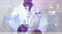 Digestion - Graphics - Touch Screen - High Tech - Data - Futuristic Stock Footage