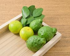 Vegetable and Herb, Kaffir Lime with Persian Lime and Kaffir Leaves for Seaso Stock Photos