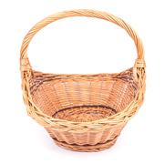 Empty wicker basket isolated on white Stock Photos