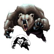 Angry brown bear Stock Illustration
