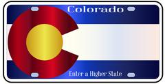 Colorado State License Plate Flag Stock Illustration