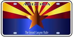 Arizona State License Plate Flag Stock Illustration